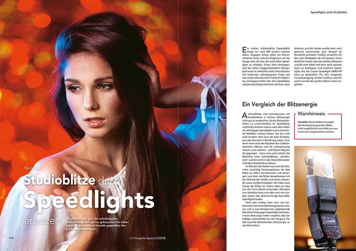 Statt einer Blitzanlage sorgen auch Speedlights für gut belichtete Fotos im Studio. Durch ihre geringe Größe können sie auch für spezielle Beleuchtungseffekte eingesetzt werden.