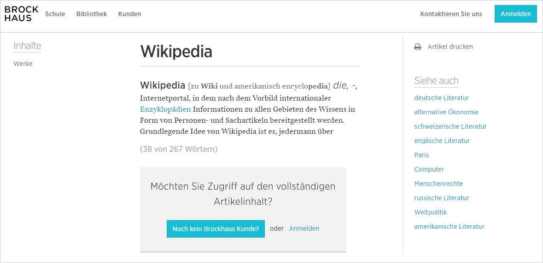 Der Brockhaus weiß auch über seinen Konkurrenten Wikipedia Bescheid. Doch nur zahlende Kunden dürfen den gesamten Eintrag lesen.