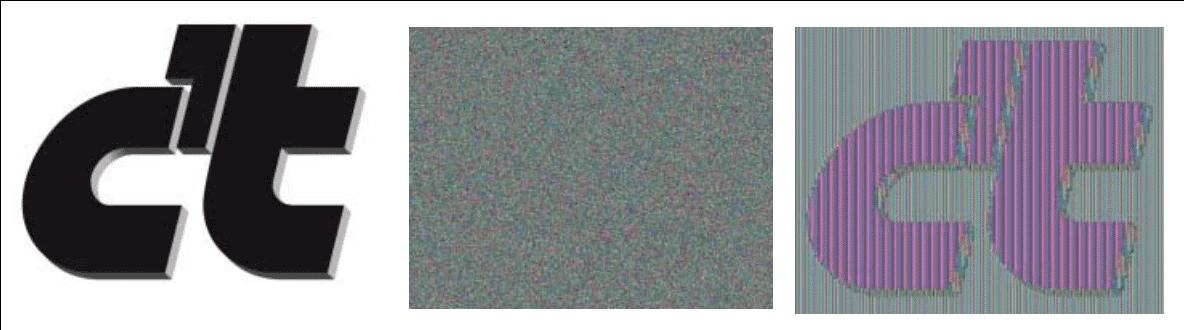 Die Bilddaten des c?t-Logos links wurden zweimal mit einem jeweils 16-stelligen<br /> Passwort AES-verschlüsselt. Während die Verschlüsselung mit Cipher Block Chaining (CBC) nur Rauschen ohne sichtbare Strukturen zeigt (Mitte), ist im simplen Electronic Codebook Modus (ECB) die Form noch deutlich zu erkennen (rechts).