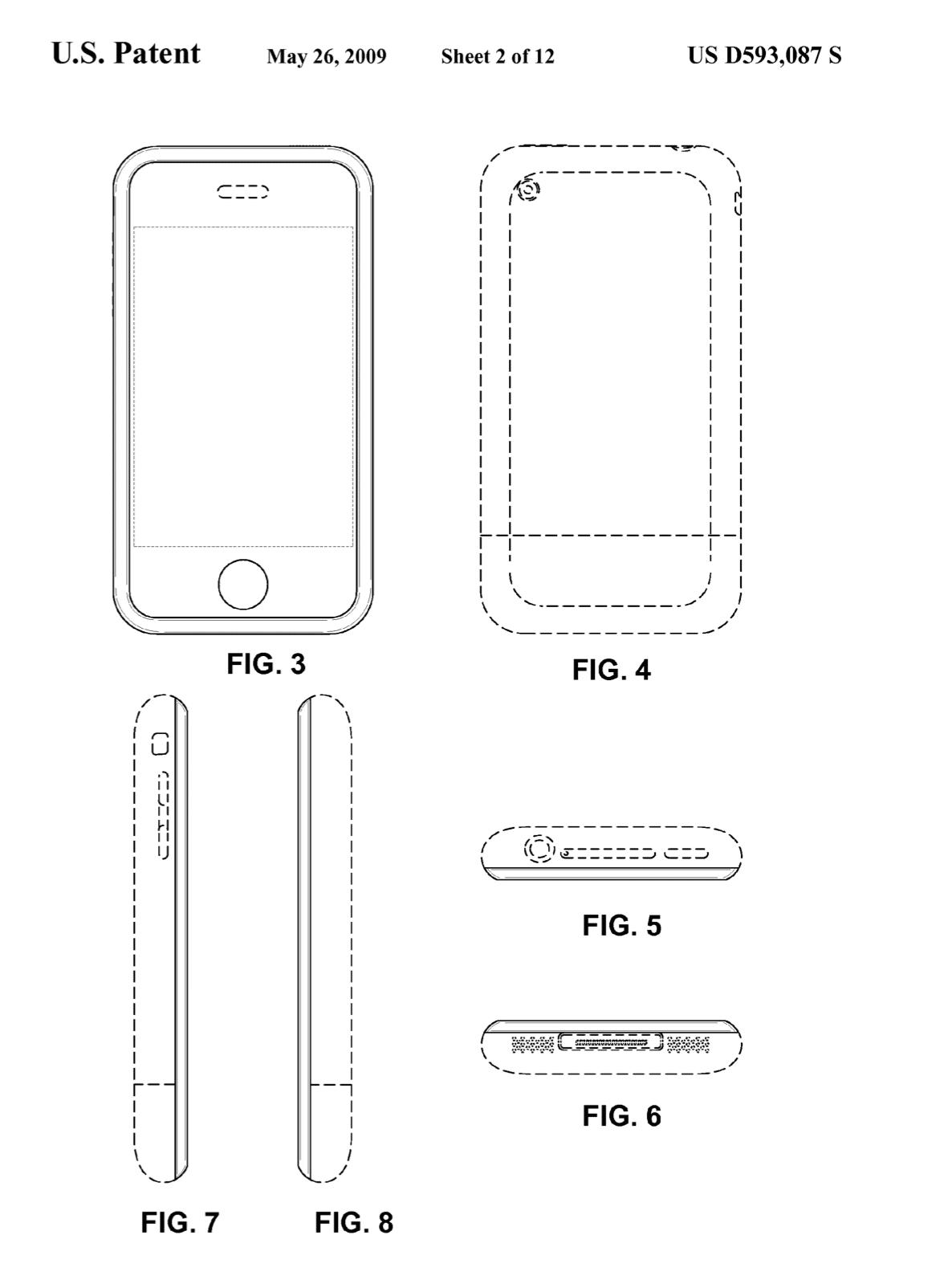 Geschütztes Apple-Design: Rechteckiges Smartphone mit abgerundeten Kanten.