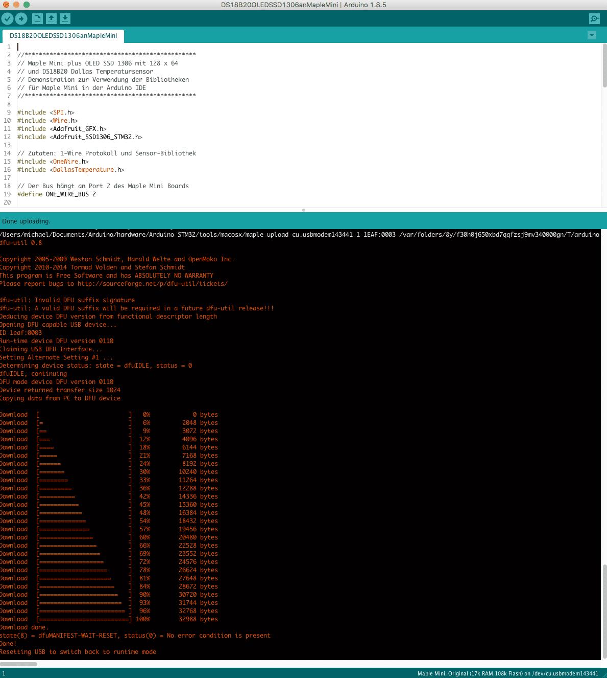 Übersetzung in der Arduino IDE. Zum Flash-Upload verwendet die STM32-Werkzeugkette dfu-util