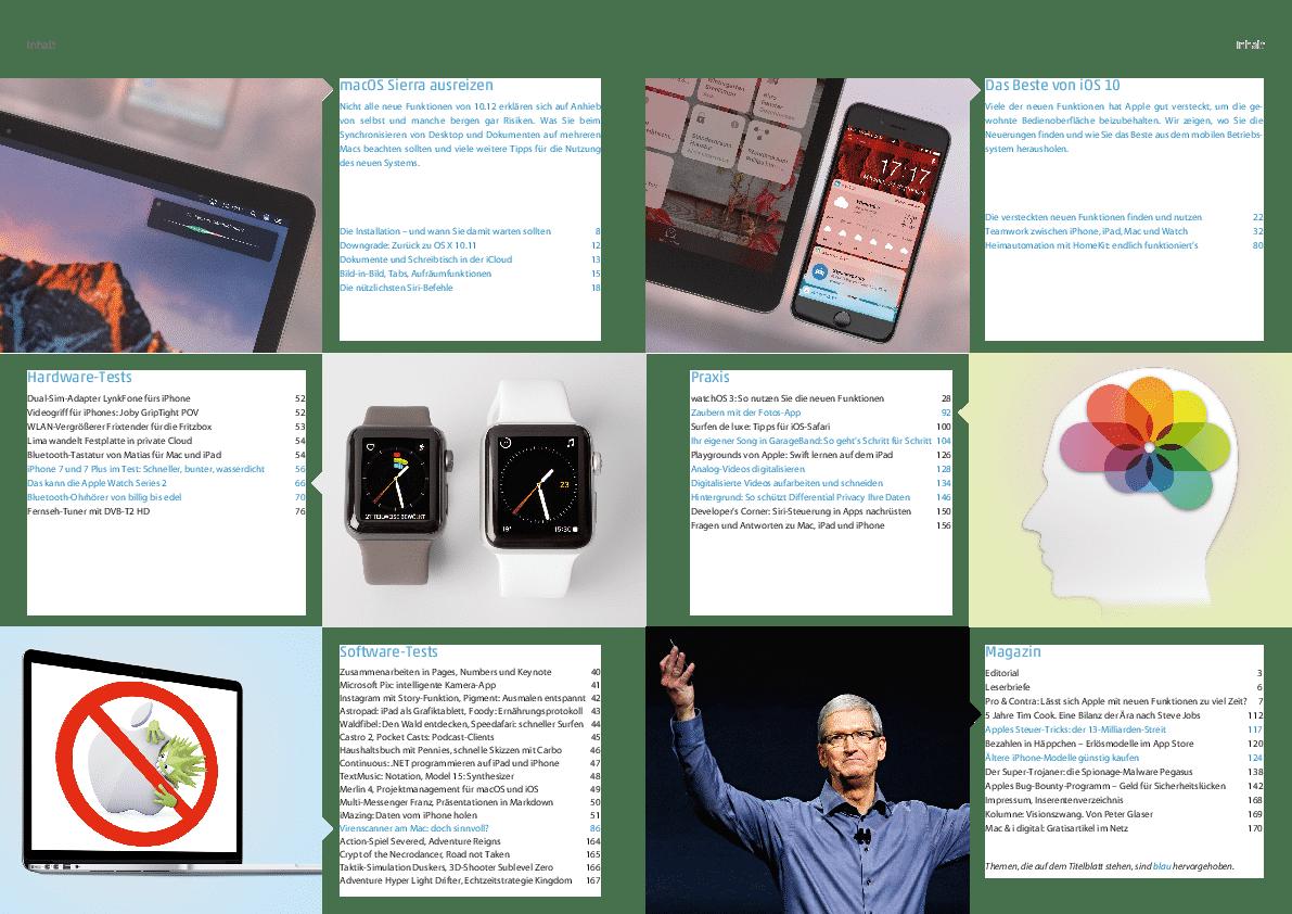 Mac & i Hefz 5/2016: Inhaltsverzeichnis