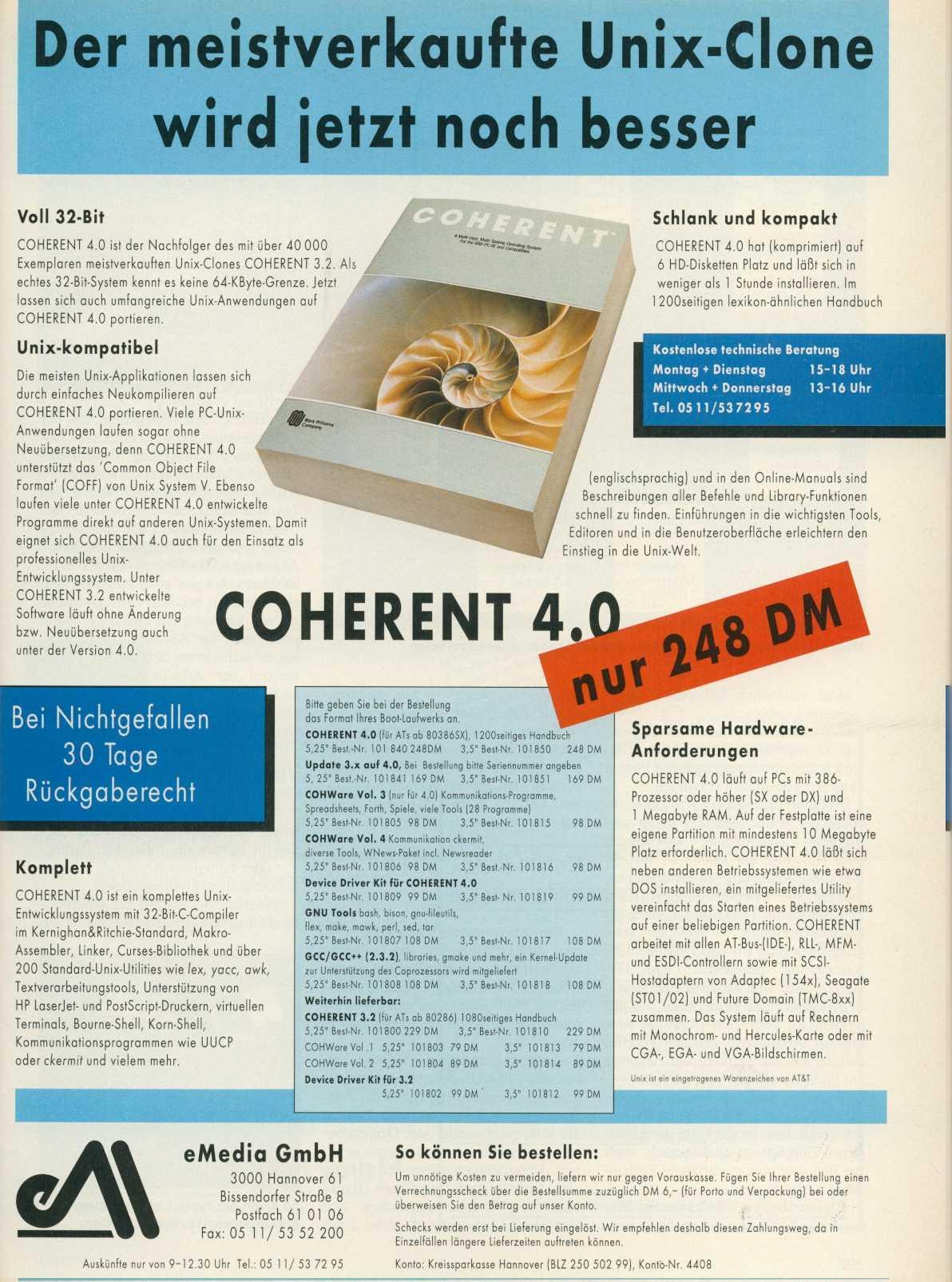 Trotz des für UNIX-Verhältnisse moderaten Preises (hier eine iX-Anzeige von 1993) konnte sich MWC mit COHERENT nicht im Markt behaupten.