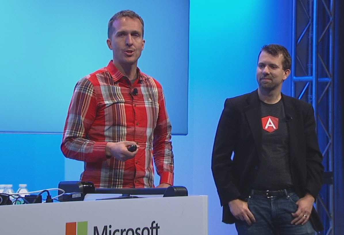 AngularJS-Entwickler Brad Green and Miško Hevery im TypeScript-Vortrag auf der Build 2015