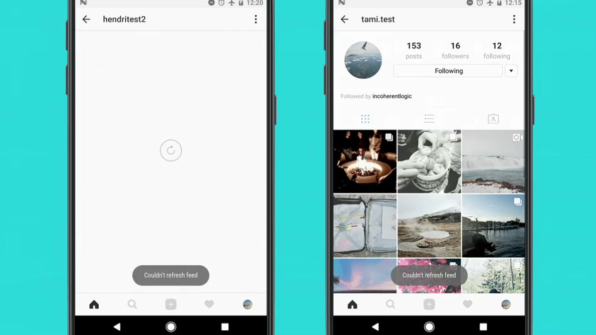 Ist die Instagram-App offline, ist nicht viel zu sehen (links). Ein Offline-Modus sorgt künftig dafür, dass Bilder auch ohne Internetzugang zu sehen sind – zumindest einige (rechts).