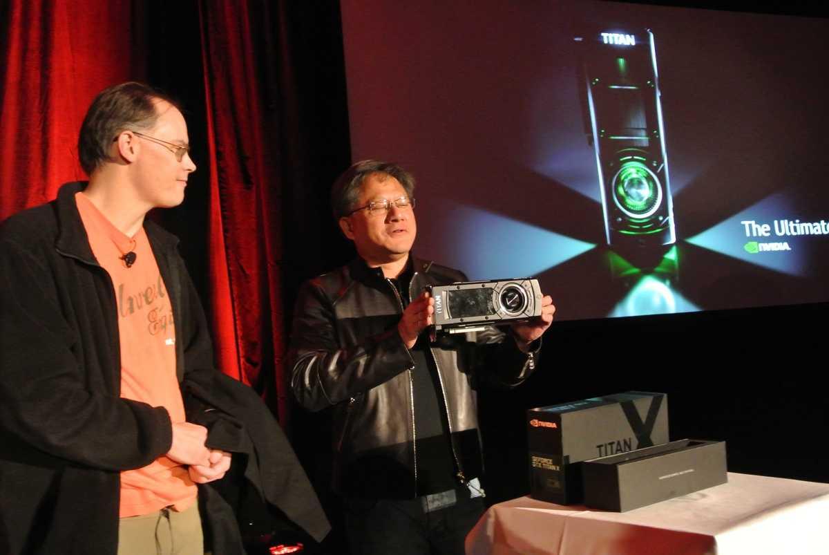 Jen-Hsun Huang warb mit der Vorstellung der Titan X für die kommende GTC-Konferenz, auf der am 17. März weitere Details zur Karte veröffentlicht werden sollen.