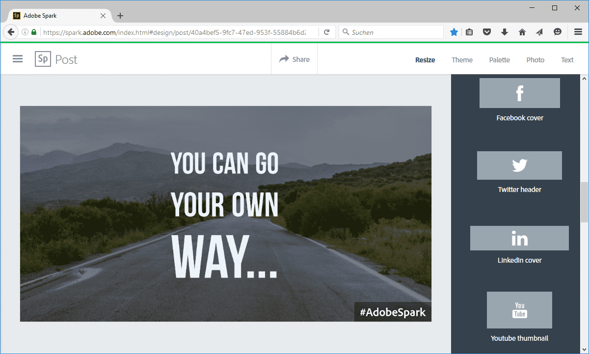 Spark Post verbindet Text und Fotos auf einfache Weise zu Social-Media-Postings.