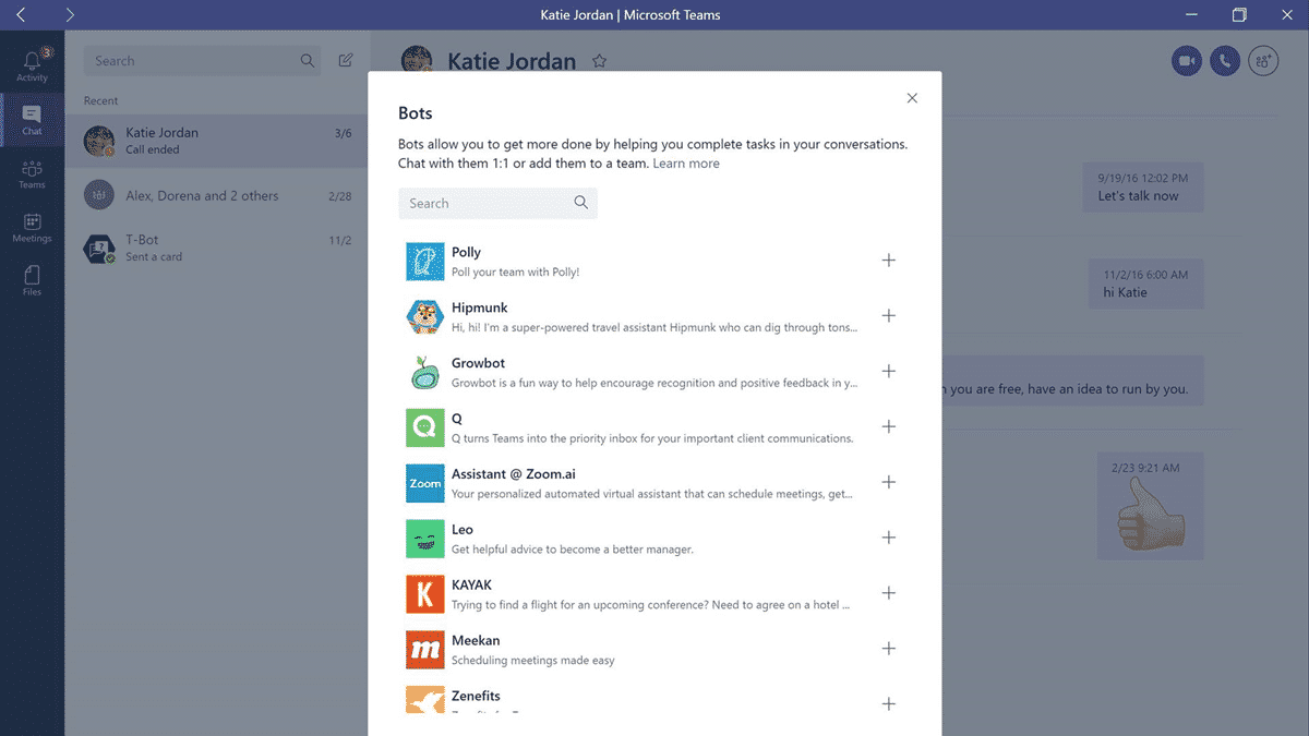 Screenshot mit Liste von Microsoft-Teams-Bots