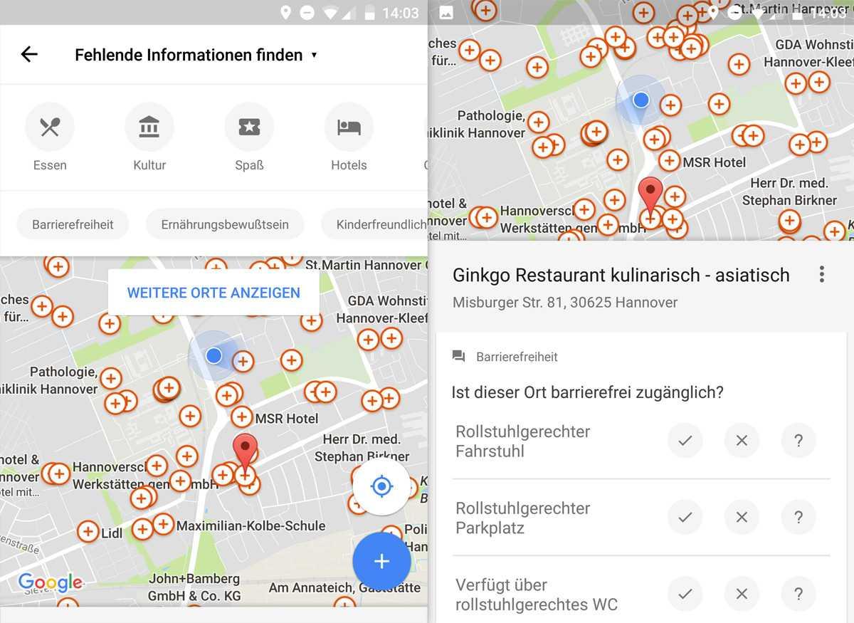 Google Maps fragt Informationen zur Barrierefreiheit von Orten ab.