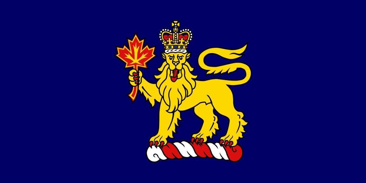 Dunkelblaue Flagge mit goldenem Löwen