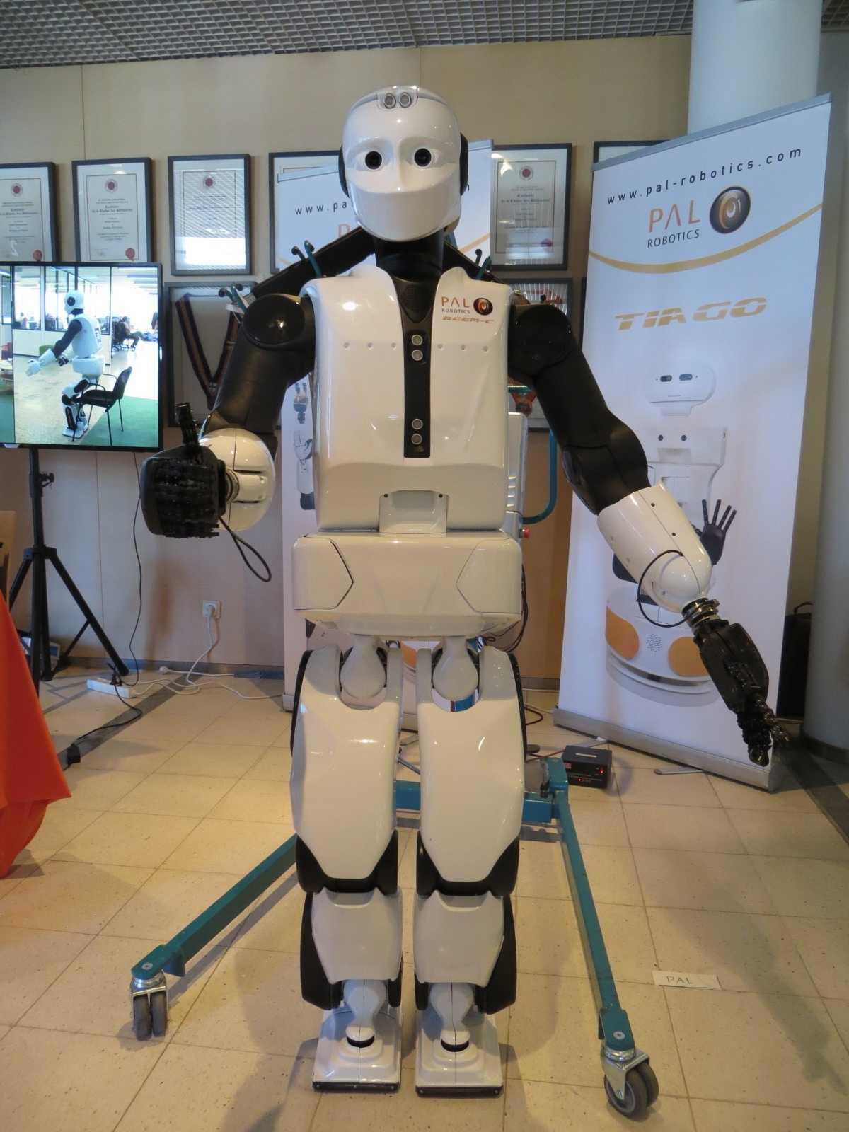 Dieser Roboter ist auch nur ein zartes Pflänzchen: Zur Demo durfte er ab und zu mal ein paar Schrittchen laufen – immer bewacht von einem Menschen. Denn wenn er hinfällt, sind schnell wieder ein paar Stunden in der Werkstatt fällig.