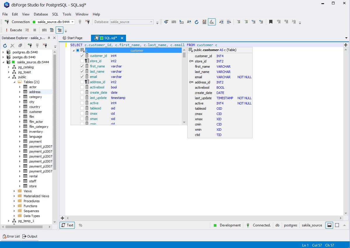 Der SQL-Editor von dbForge Studio bietet Autovervollständigung.