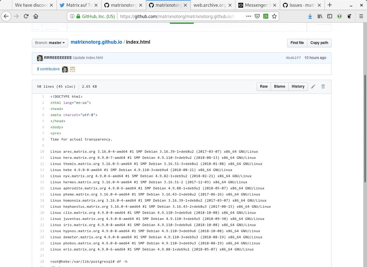 Der Angreifer enthüllt die Kernel-Versionen des Matrix-Homeservers.