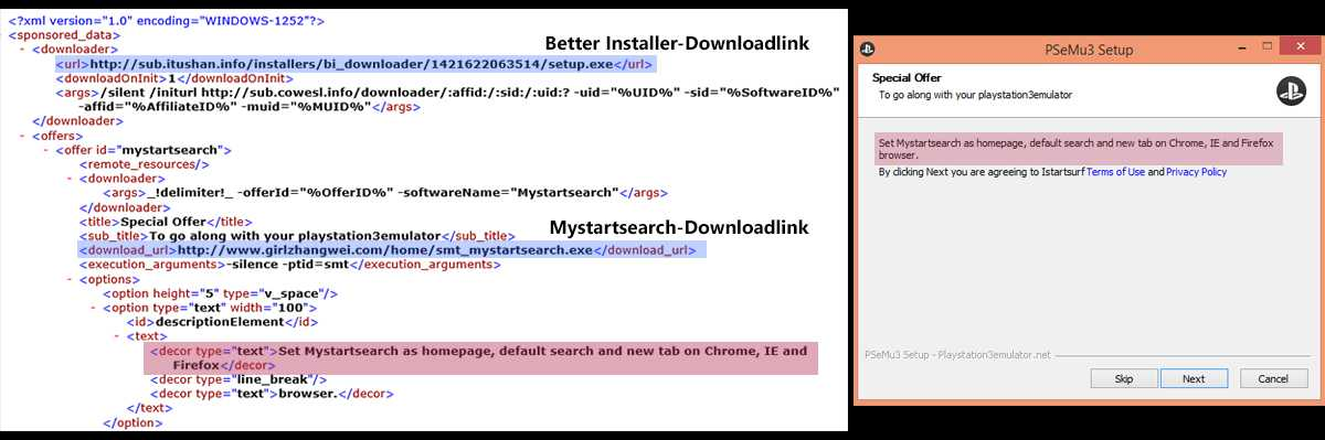 Auszug aus der Datei binsis142.xml und der korrespondierende Text im Installer-Fenster.