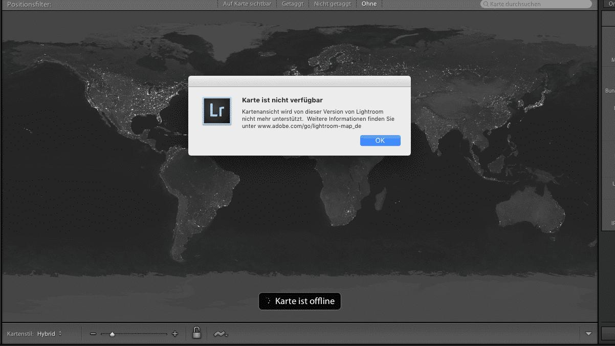 Adobe deaktiviert Kartenmodul in älteren Lightroom-Versionen