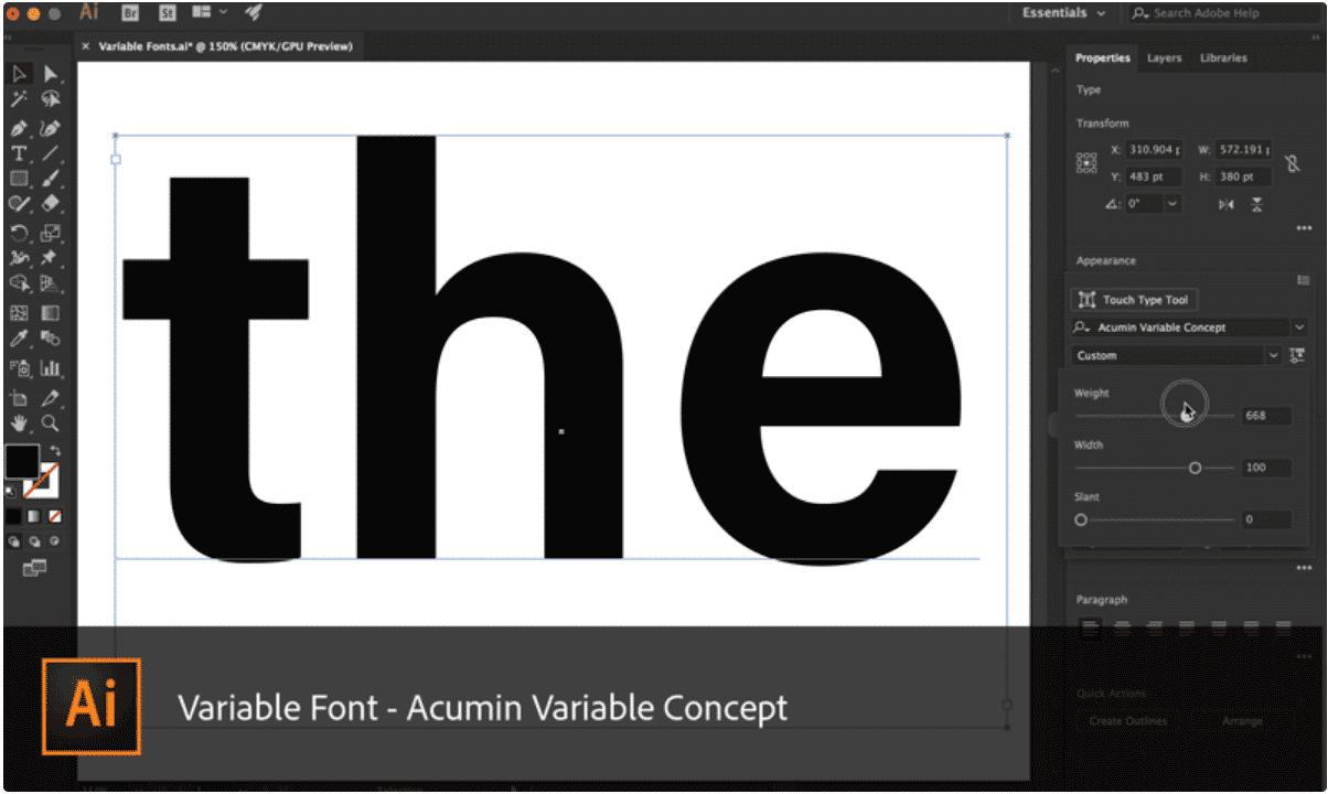 Photoshop und Illustrator unterstützen Fonts mit variabler Strichstärke.