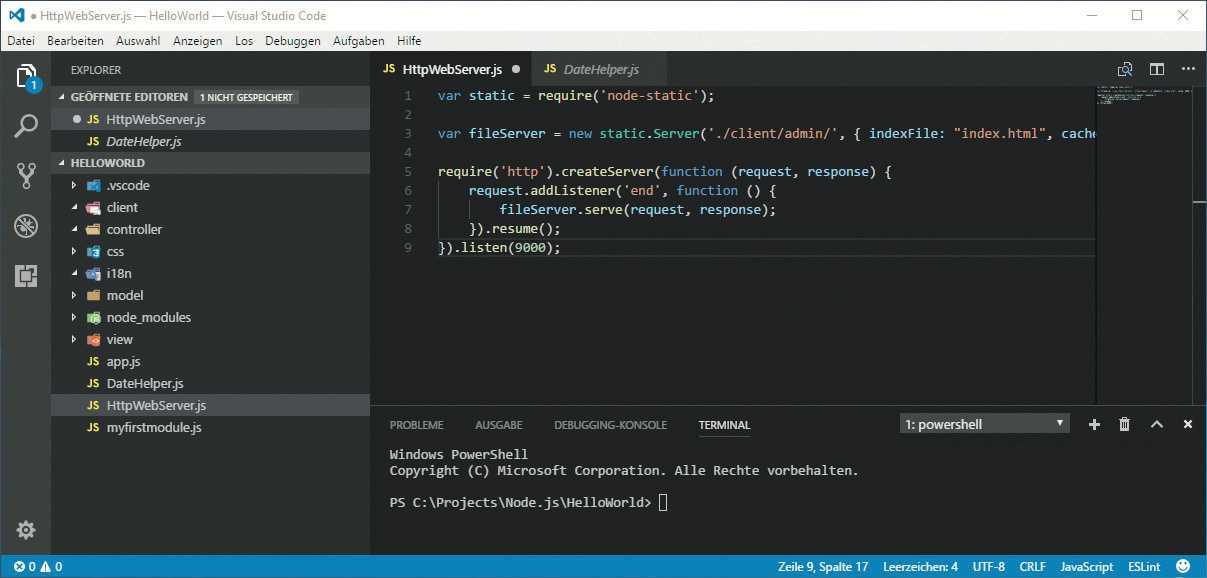 Test: Microsoft Visual Studio Code Editor mit eingebautem Debugger