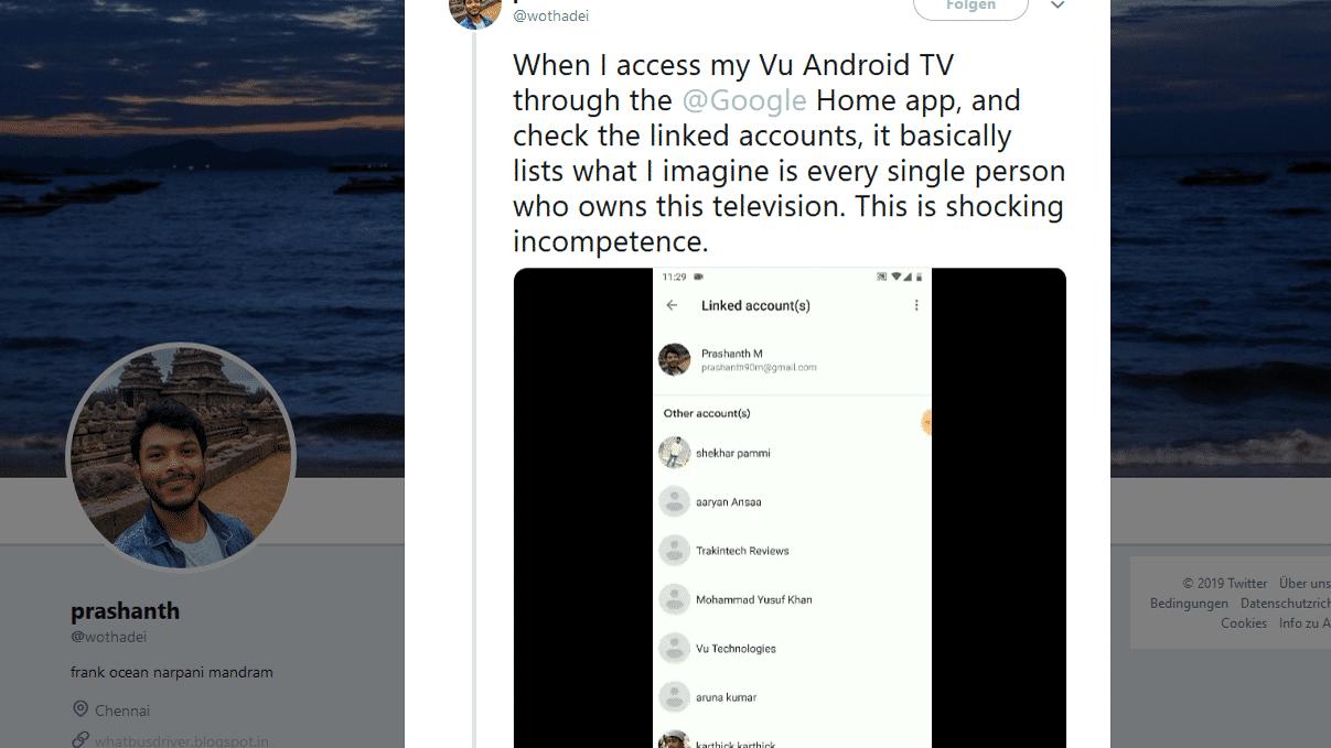 Android TV zeigte fremde Nutzerdaten an