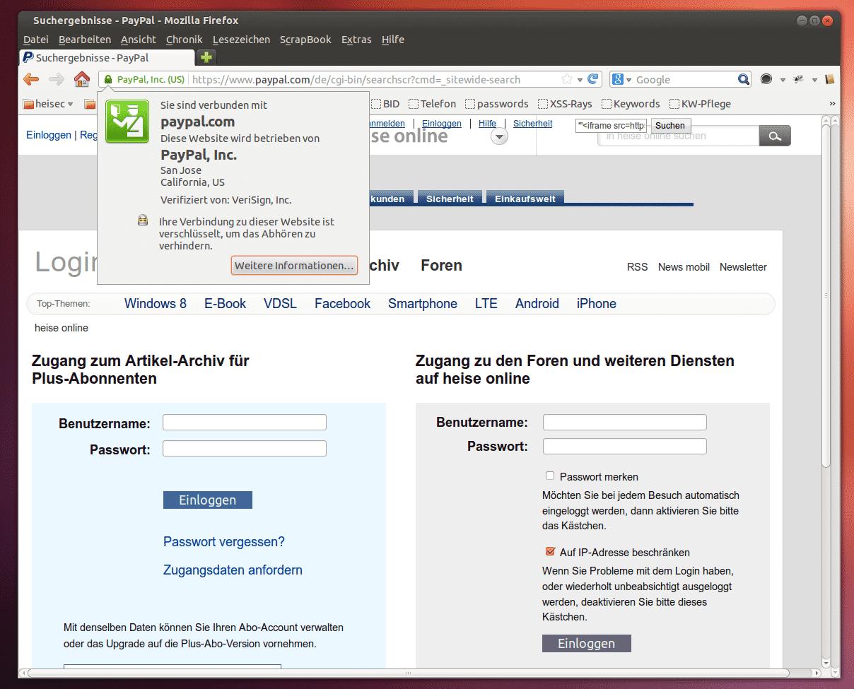 PayPal-XSS-Lücke: Screenshot mit Zertifikatsdetails