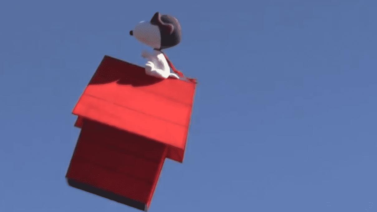 Snoopy auf dem roten Haus