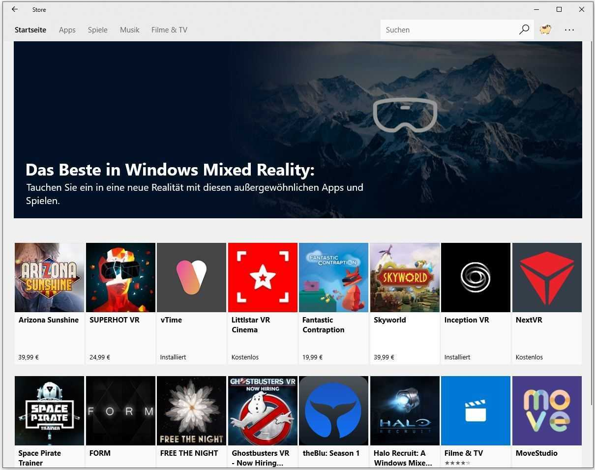 Auch Nicht-Besitzer einer Windows-Mixed-Reality-Brille bekommen ab sofort im Microsoft-App-Store VR-Software angeboten.