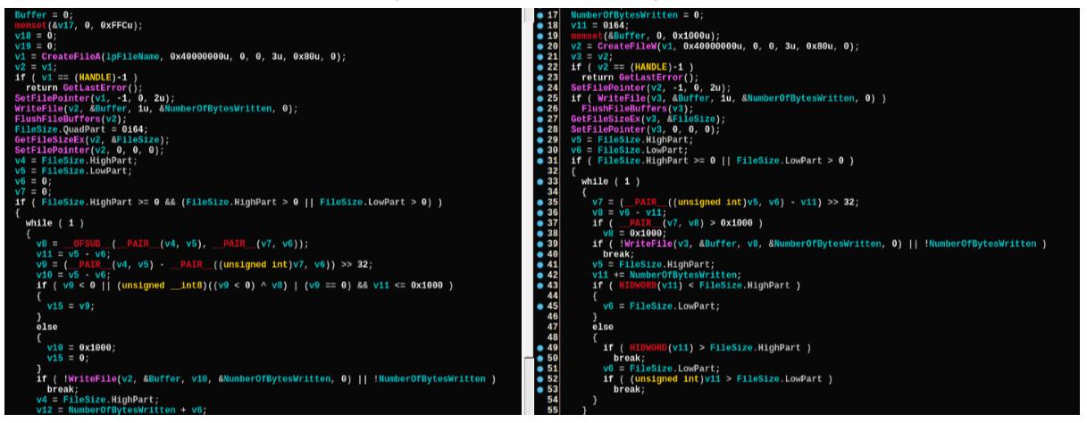 Vergleich von Code-Fragmenten von Malware der Lazarus-Gruppe (links) und von Olympic Destroyer (rechts).