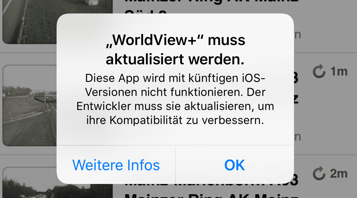 Apples Warnmeldung in iOS 10.3.