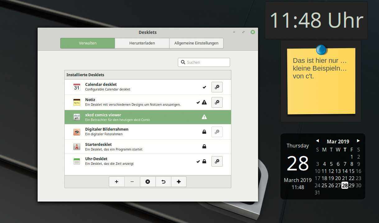 Desklets statten den Cinnamon-Desktop mit weiteren Funktionen aus.