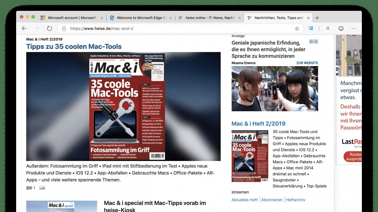 Edge-Browser für macOS darf offiziell getestet werden
