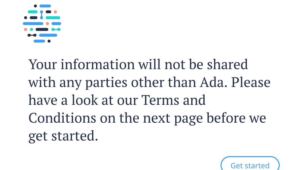 Screenshot von Adas Webinterface bei sutterhealth.org