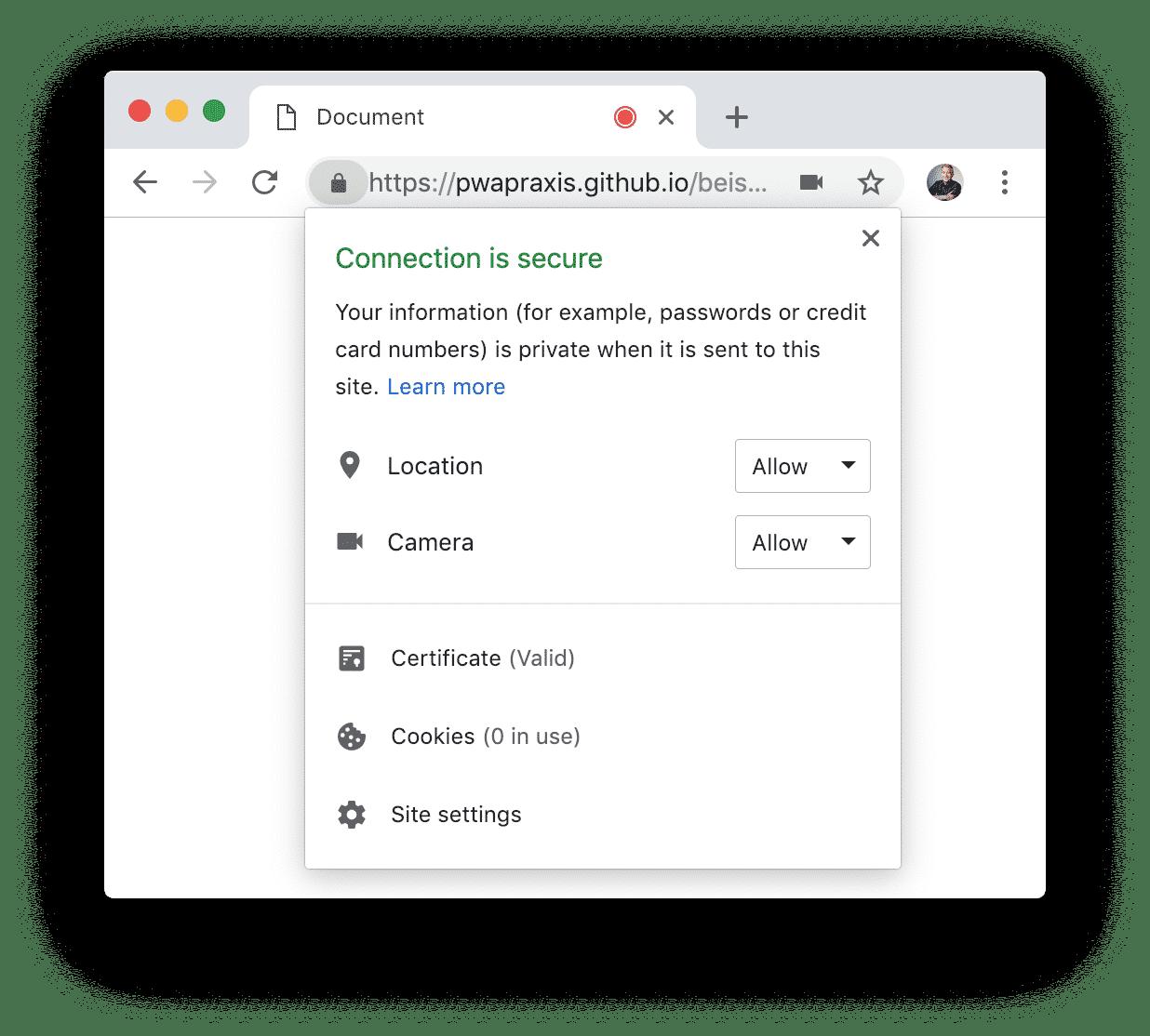 Steuerung der vergebenen Berechtigungen in Google Chrome