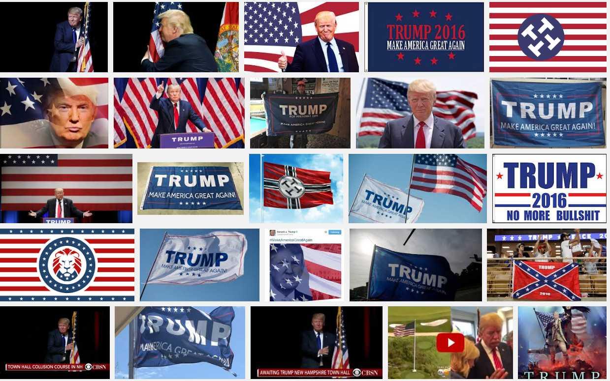 """Was Google so bei der Suche nach """"Trump Flag"""" findet..."""