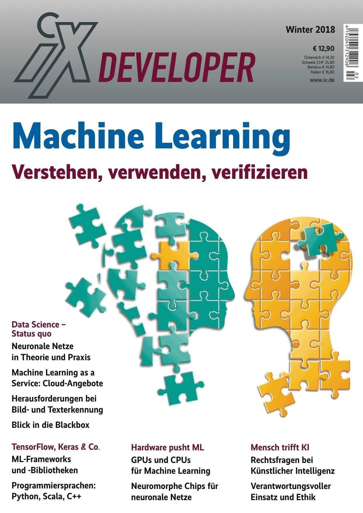 Auf 158 Seiten gibt das Sonderheft einen technischen Einblick in diverse Themen rund um Machine Learning.