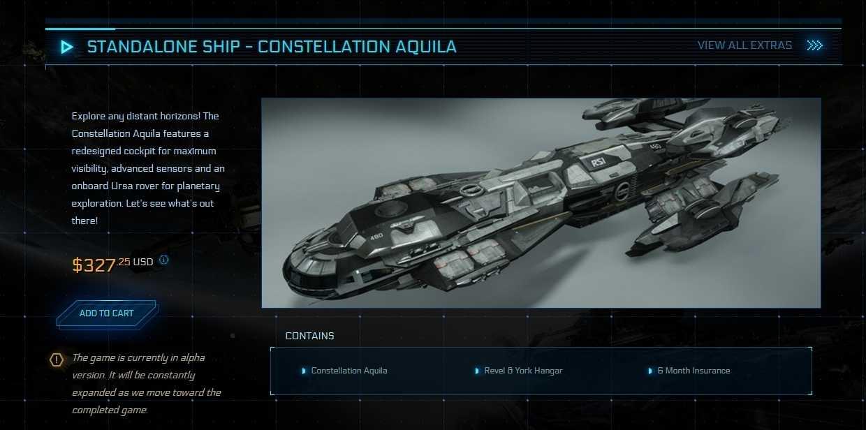 Über 300 US-Dollar für ein digitales Raumschiff für ein unfertiges Spiel.