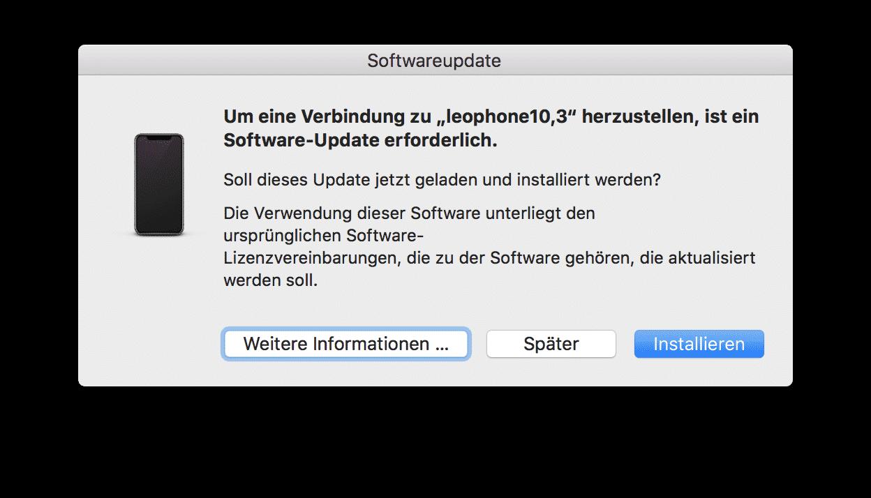 Sollte man das über diesen Dialog bereitgestellte Update verpassen, kann iTunes auf dem Mac das iPhone mit iOS 12 nicht mehr erkennen.