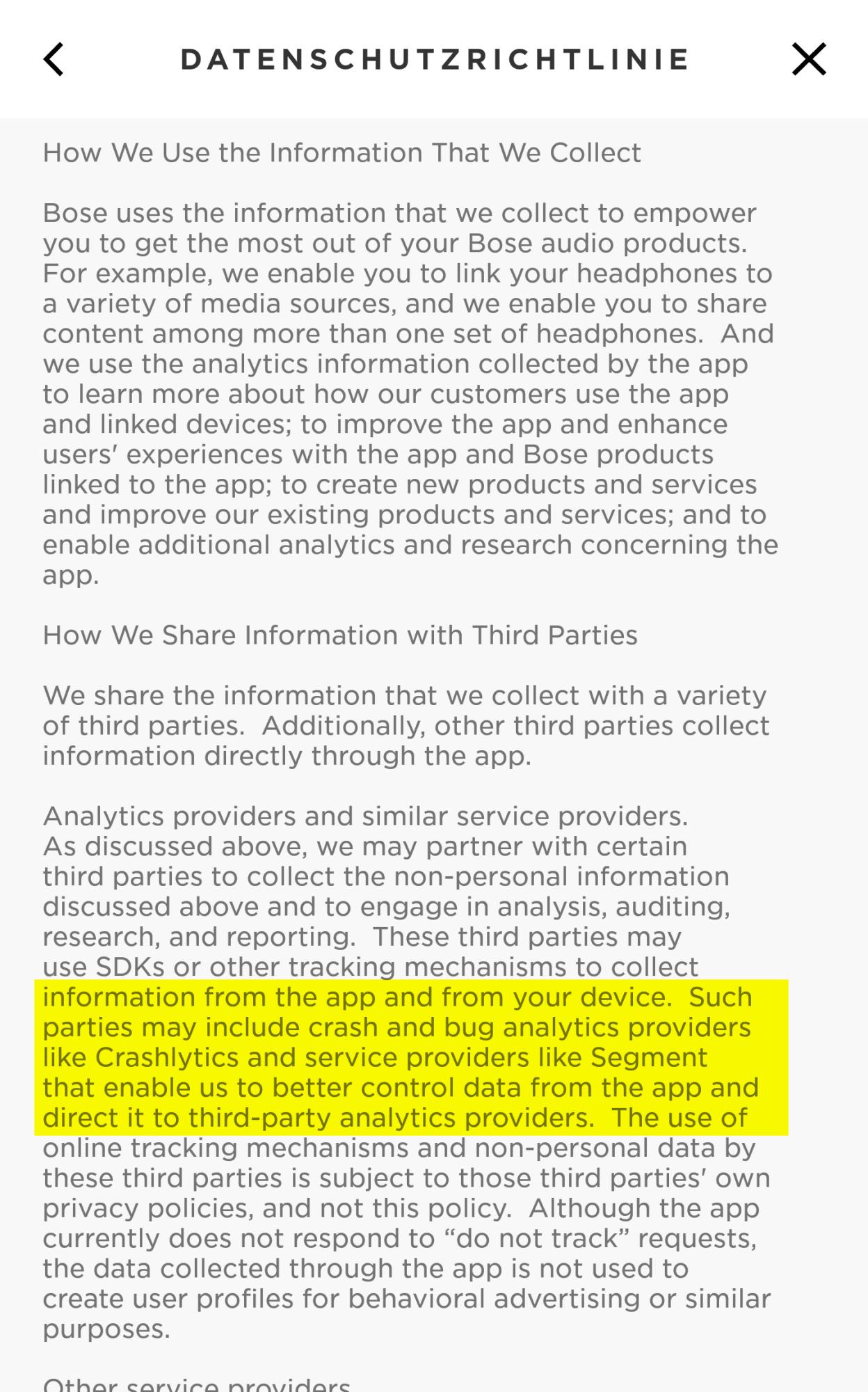 Auszug aus den Datenschutzbestimmungen von Bose (Hervorhebung durch heise online)