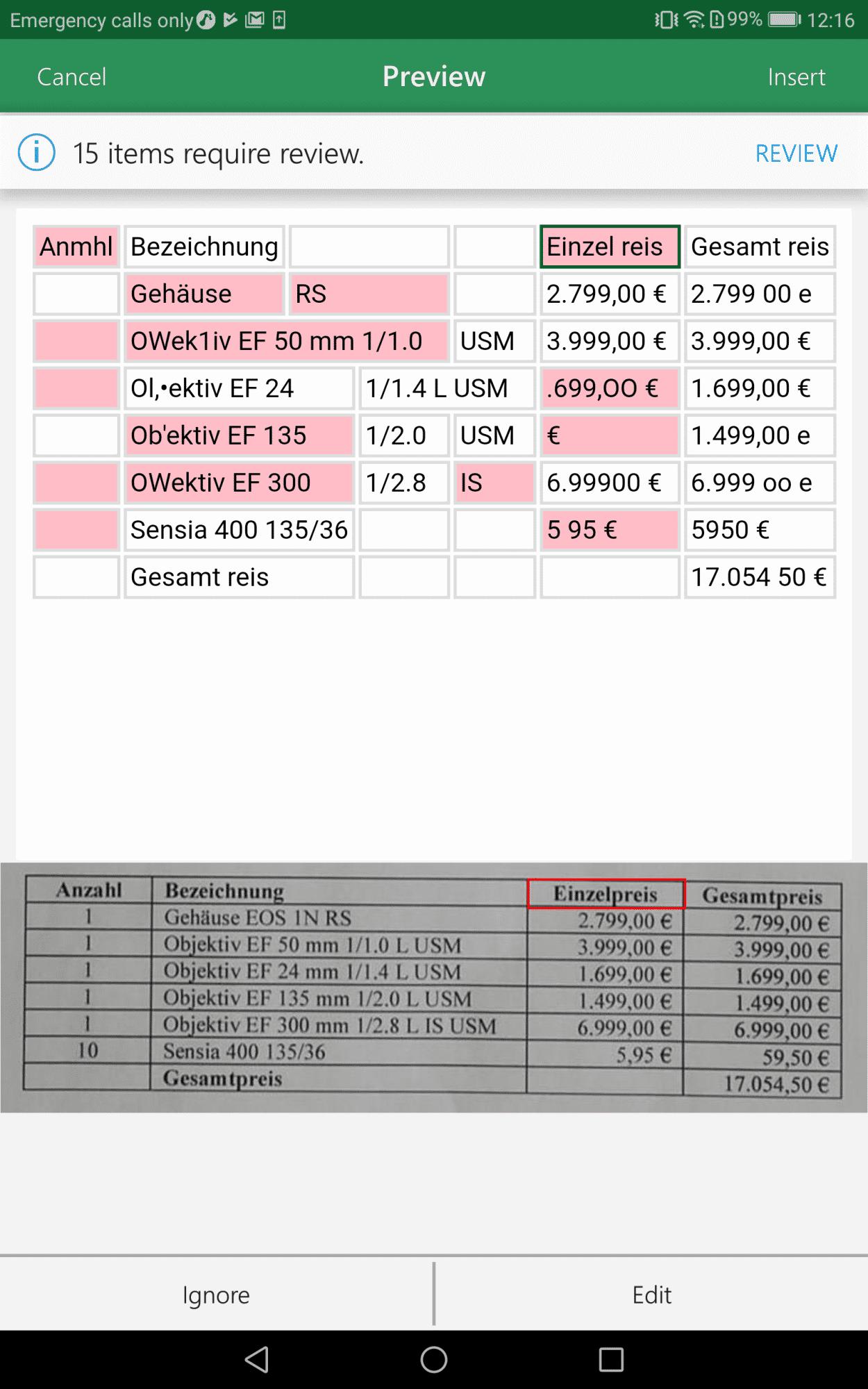 Screenshot: Excel-Bildimport unter Android