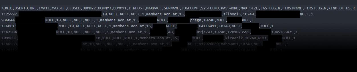 Auszüge aus der A1-Kundendatenbank, die der Hacker erbeutete: Unter anderem enthält sie die Klartext-Passwörter der Nutzer.