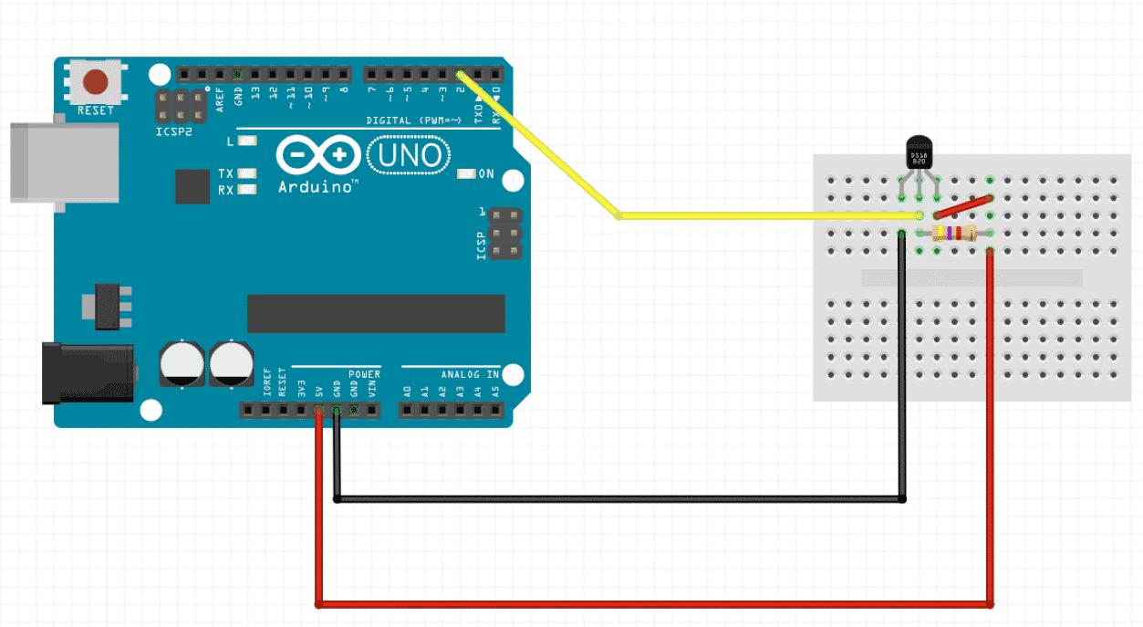 Schaltung mit Arduino Uno und Dalla-Sensor (DS18B20)