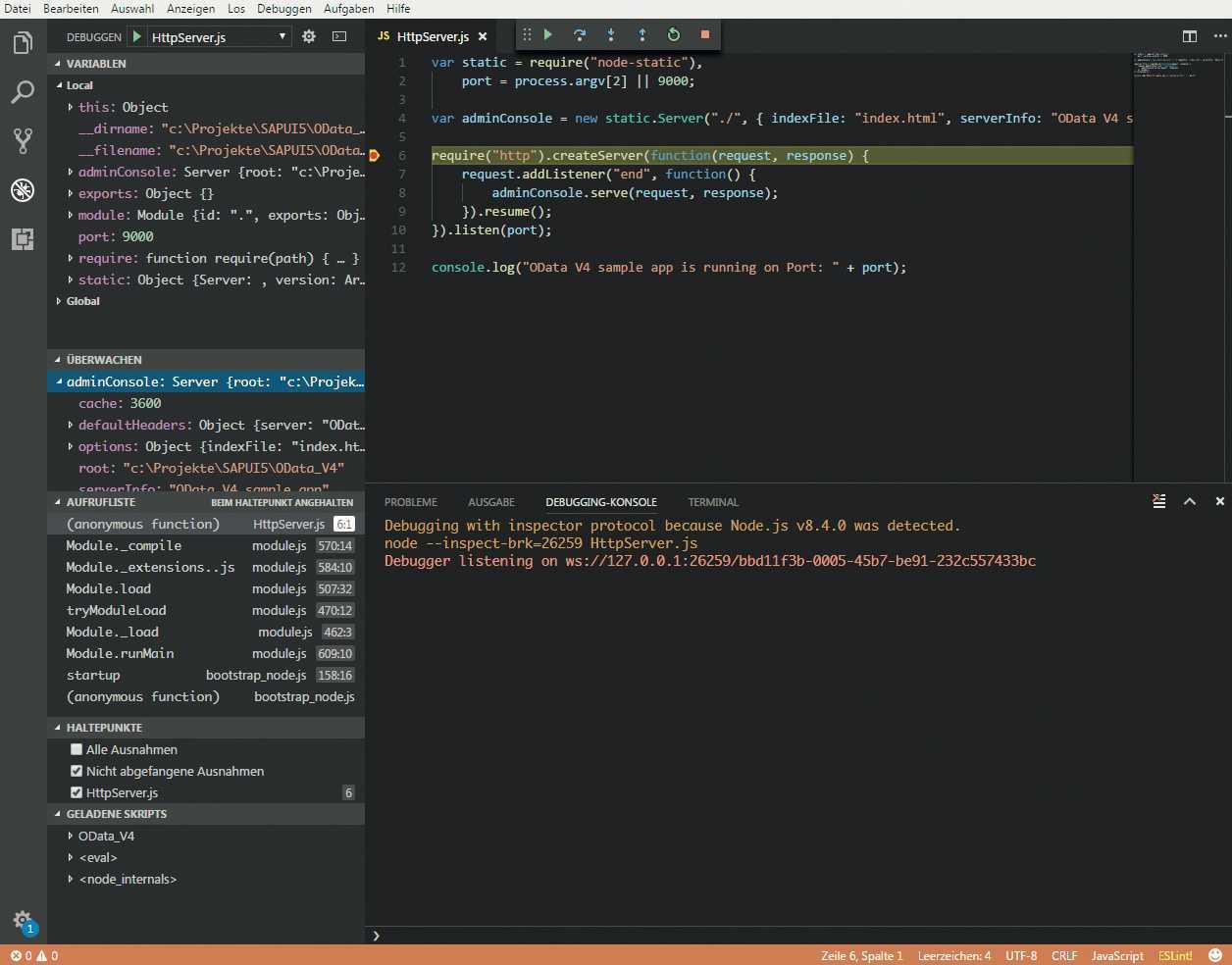 Die Bedienoberfäche von Visual Studio Code.