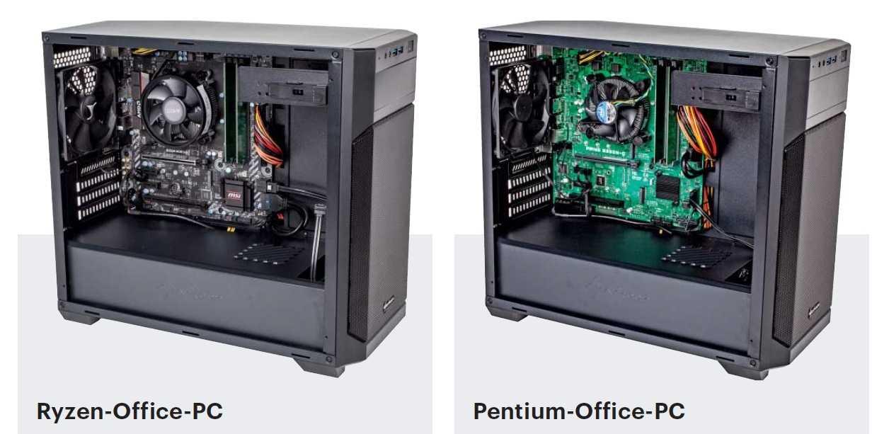 Bauvorschläge für Bürocomputer mit AMD Ryzen oder Intel Pentium G