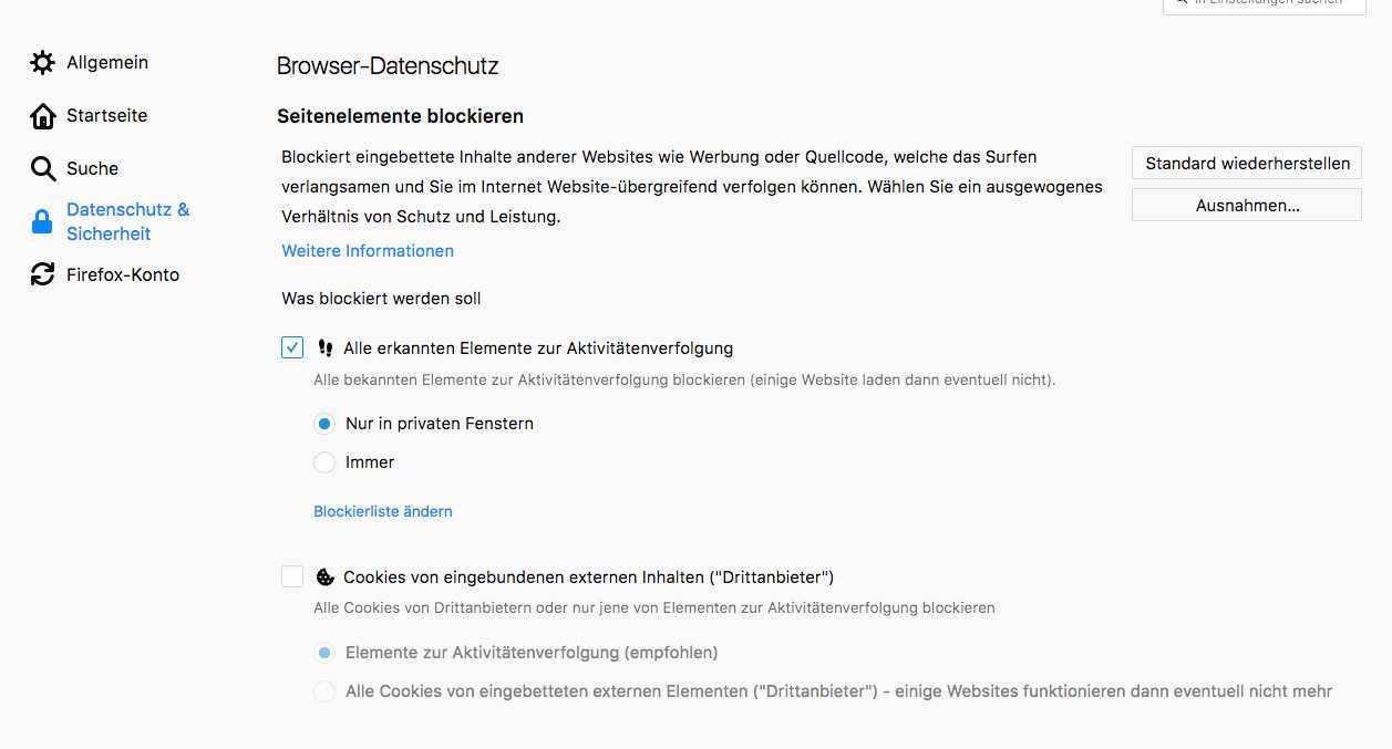 Mehr Selbstbestimmung: Die Nutzer entscheiden, wann Firefox bestimmte Seitenelemente blockiert.