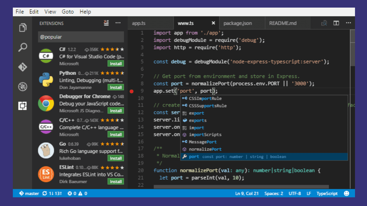 Visual Studio Code 1.31 installiert Extensions ohne Reload