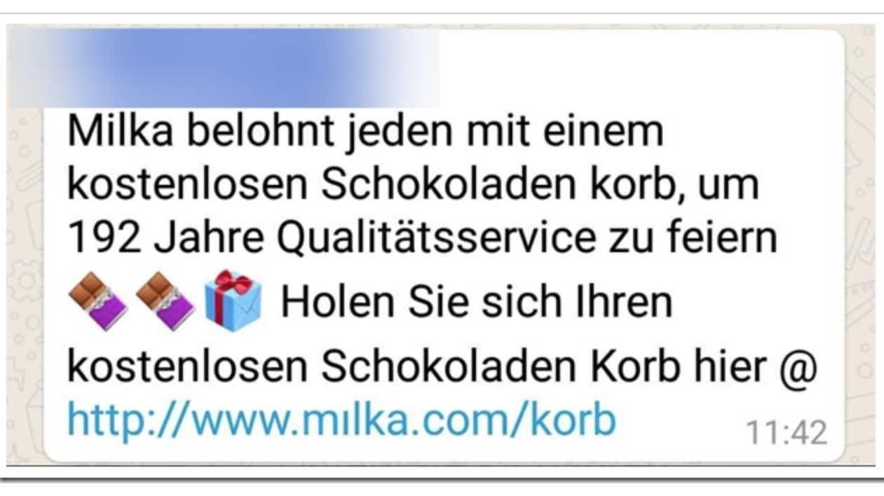 "WhatsApp-Kettenbrief verspricht ""Mılka""-Schokolade"