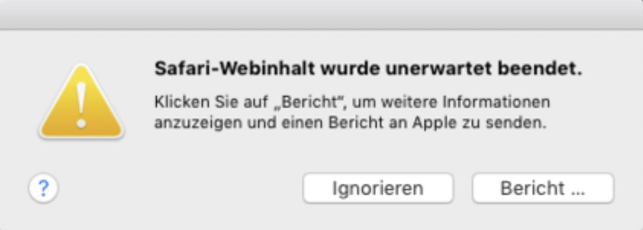 Mac-Nutzer können den Fehlerbericht jeweils an Apple senden.