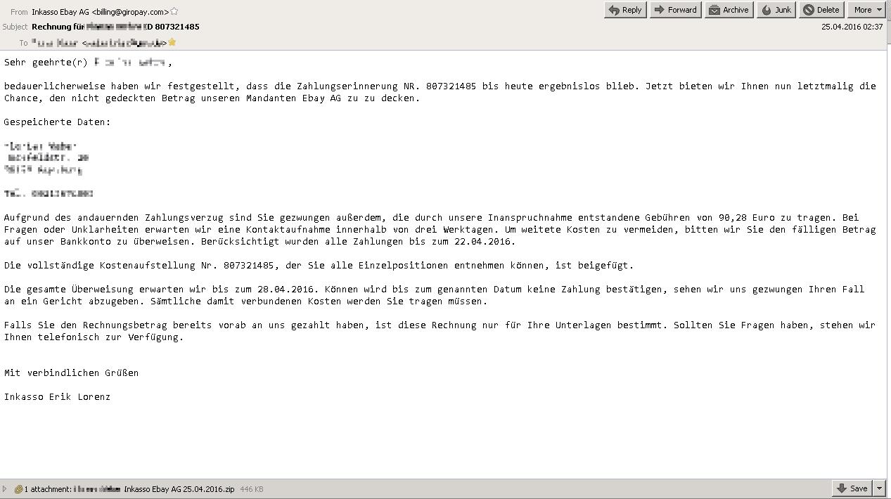 Eine uns vorliegende Phishing-Mail ist optisch schlicht, präsentiert sich aber aufgrund des überzeugend formulierten Textes und den persönlichen Daten authentisch.