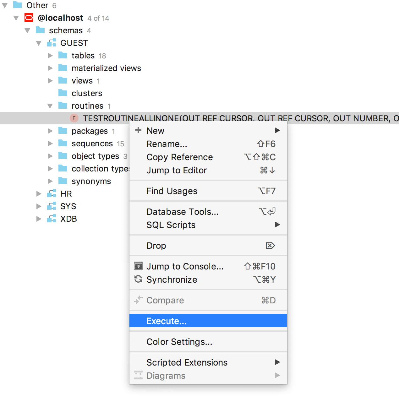 Gespeicherte Prozeduren lassen sich in DataGrip aus dem Kontextmenü ausführen.