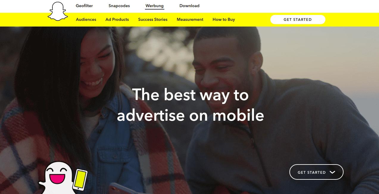 Snap Inc.-Werbung für Werbung via Snapchat