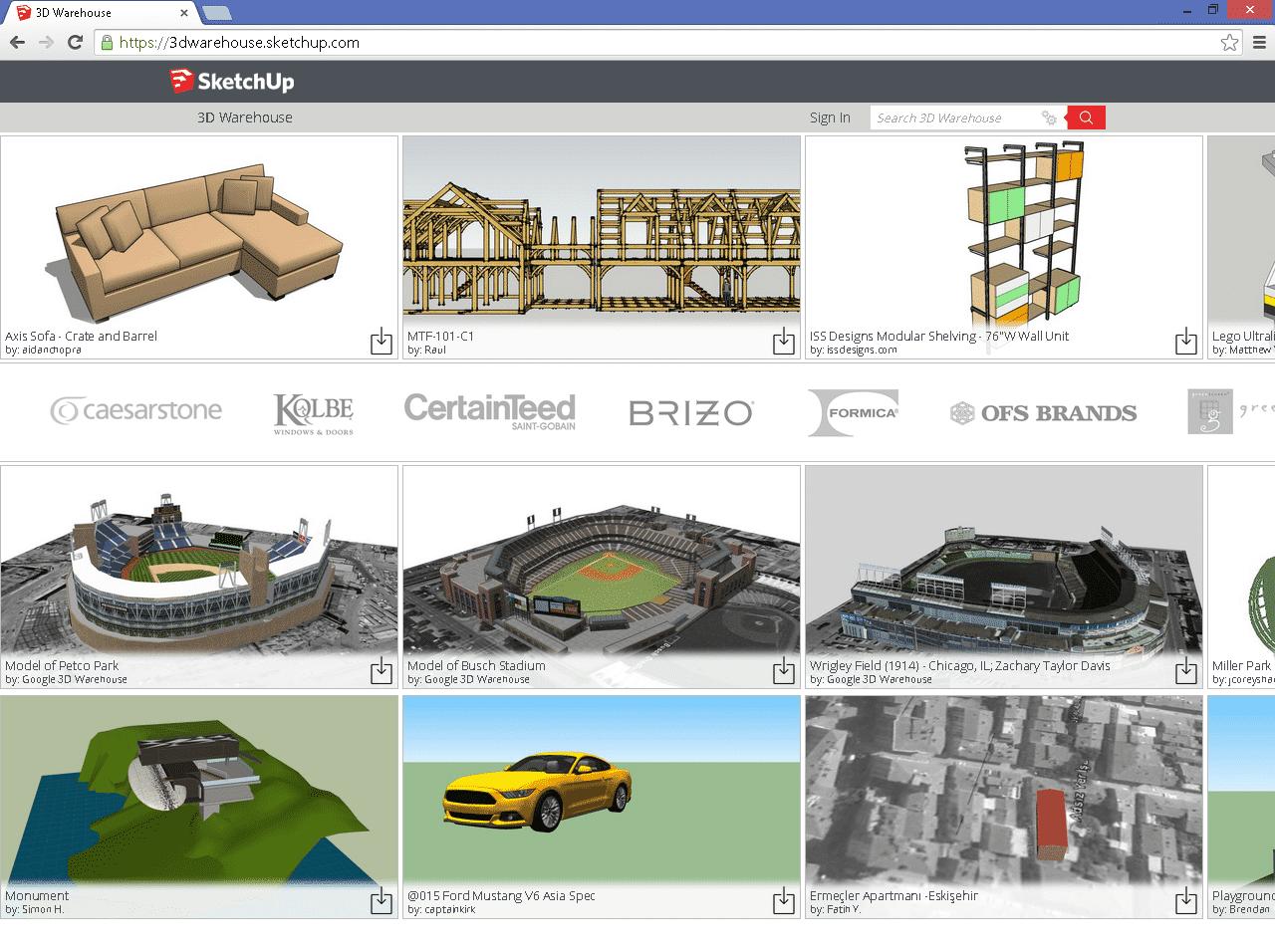 Die 3D-Galerie von Trimble erreicht man direkt aus SketchUp heraus, man kann aber auch einfach über einen Browser auf die zahlreichen Modelle zugreifen.