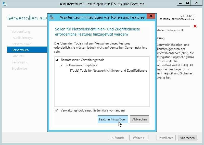 Nur der Home Server 2011 installiert alle für die Radius-Authentifizierung benötigten Rollen einschließlich des Netzwerkrichtlinienservers von sich aus.